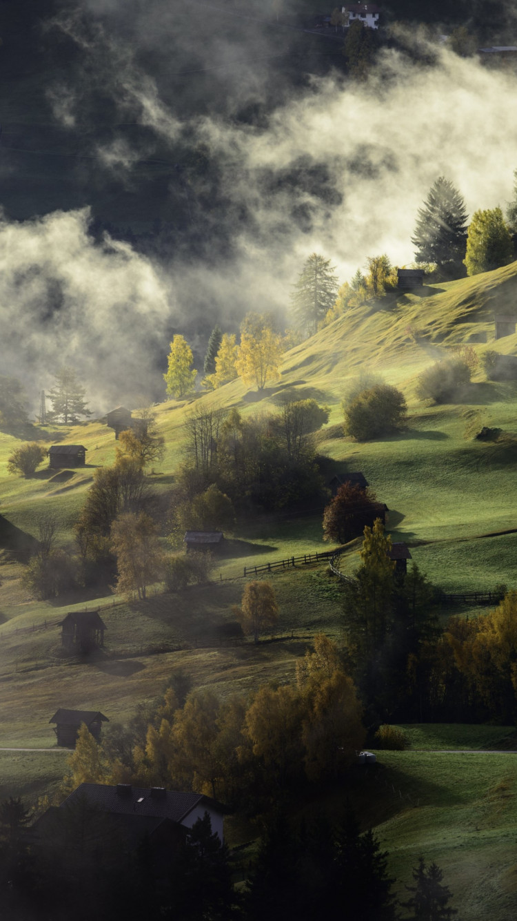 Fog, landscape and a village | 750x1334 wallpaper