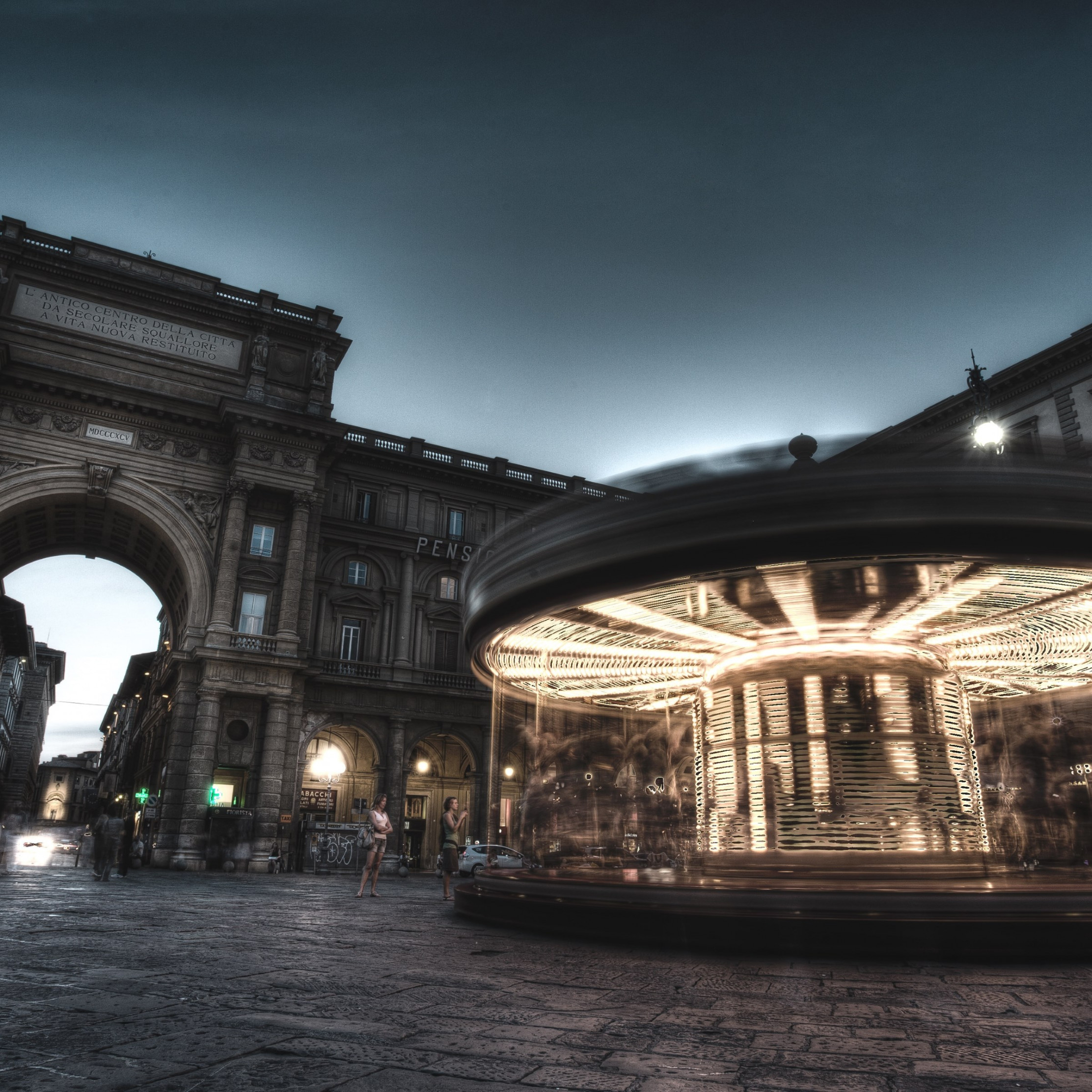 Carousel, people and buildings from Florence wallpaper 2224x2224