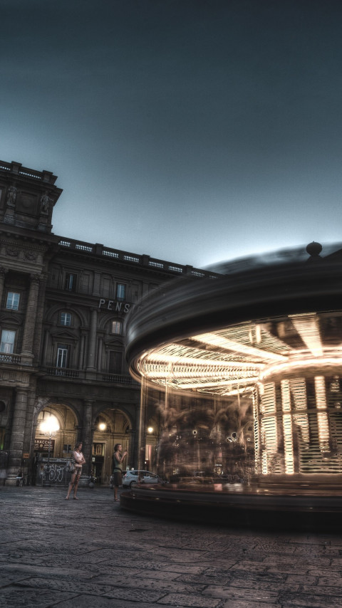 Carousel, people and buildings from Florence wallpaper 480x854