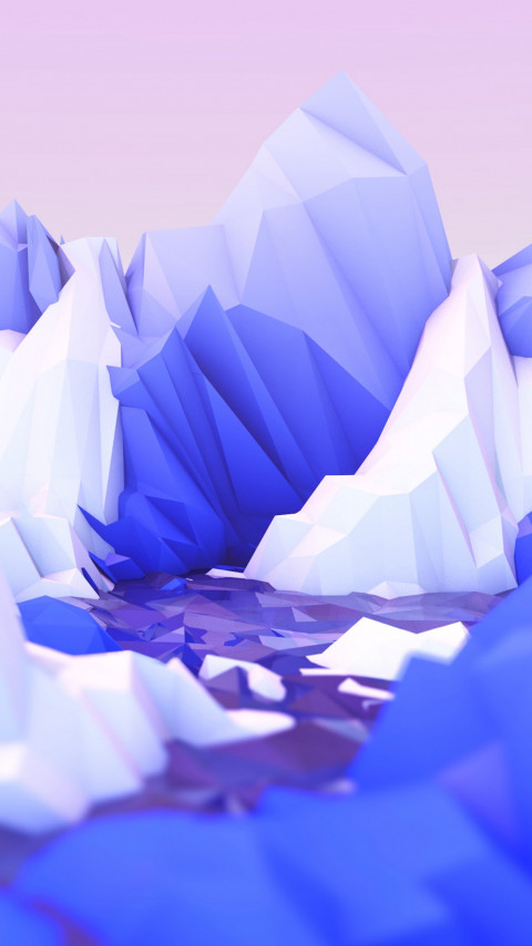 Low poly graphic design wallpaper 480x854
