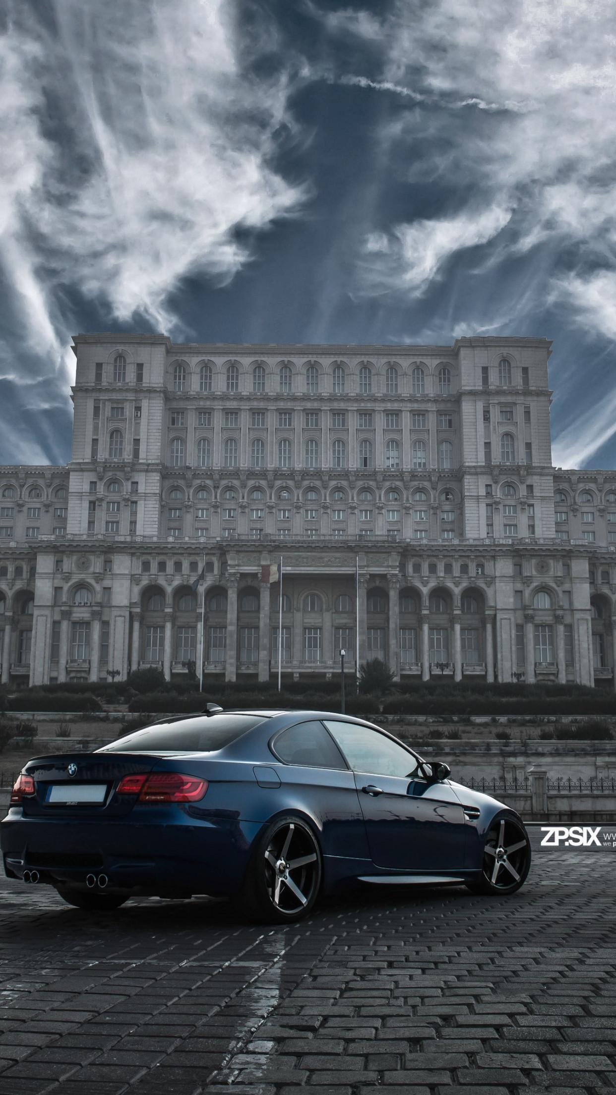 BMW E92 M3 in front of Palace of the Parliament wallpaper 1242x2208