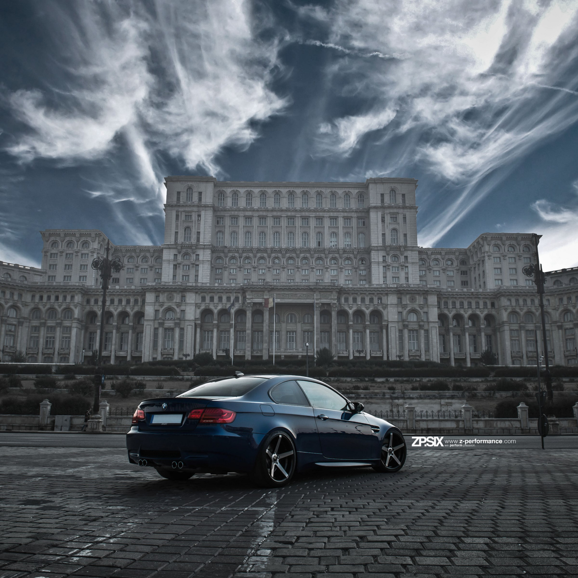 BMW E92 M3 in front of Palace of the Parliament wallpaper 2224x2224