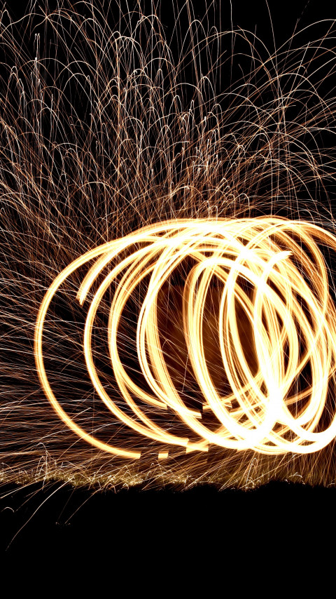 Spinning wire wool wallpaper 480x854