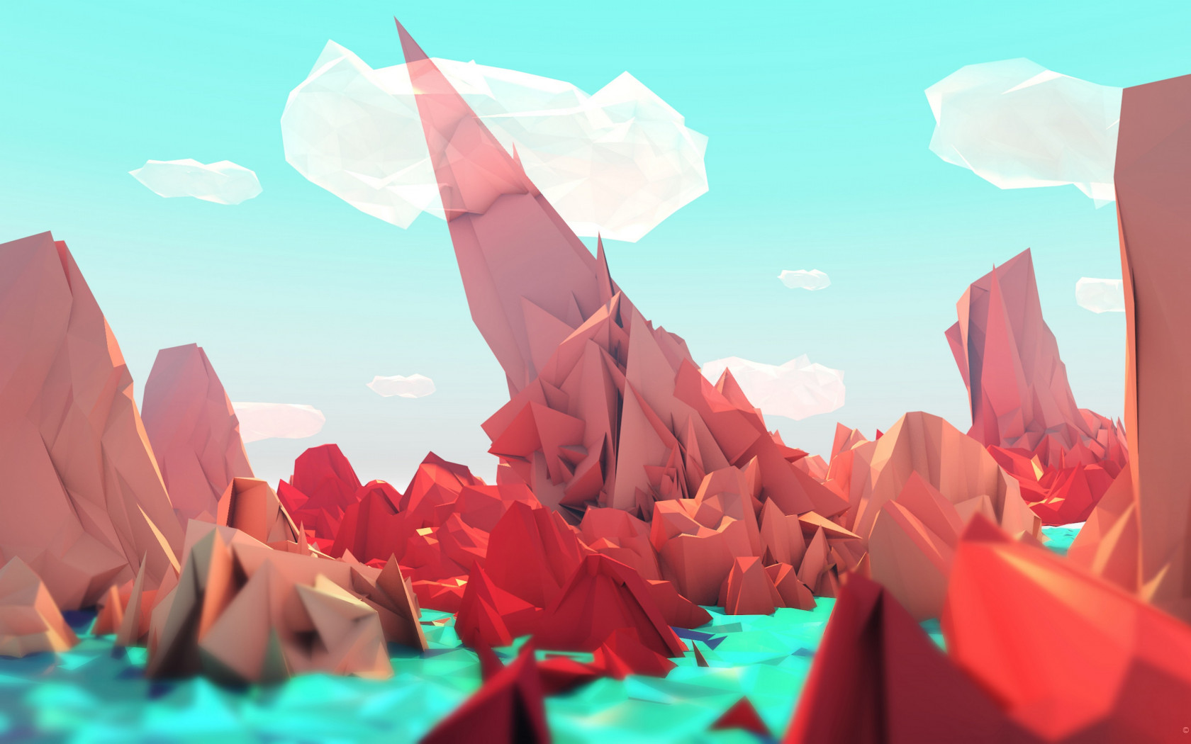The red mountains. Low poly illustration wallpaper 1680x1050