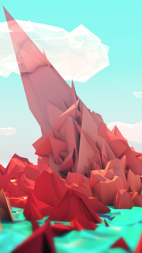 The red mountains. Low poly illustration wallpaper 480x854