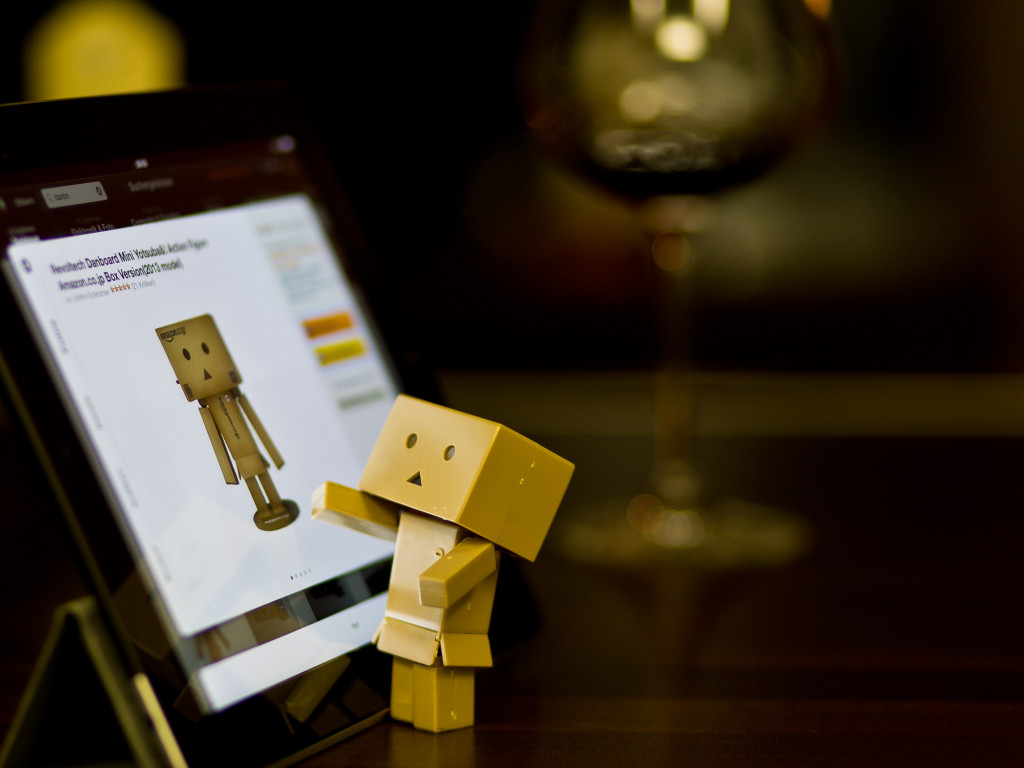 Danbo with tablet wallpaper 1024x768
