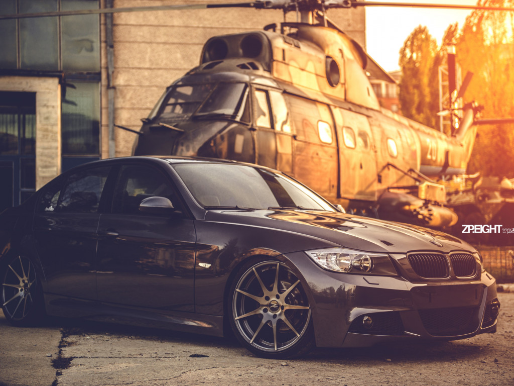 BMW E90 and one helicopter wallpaper 1024x768