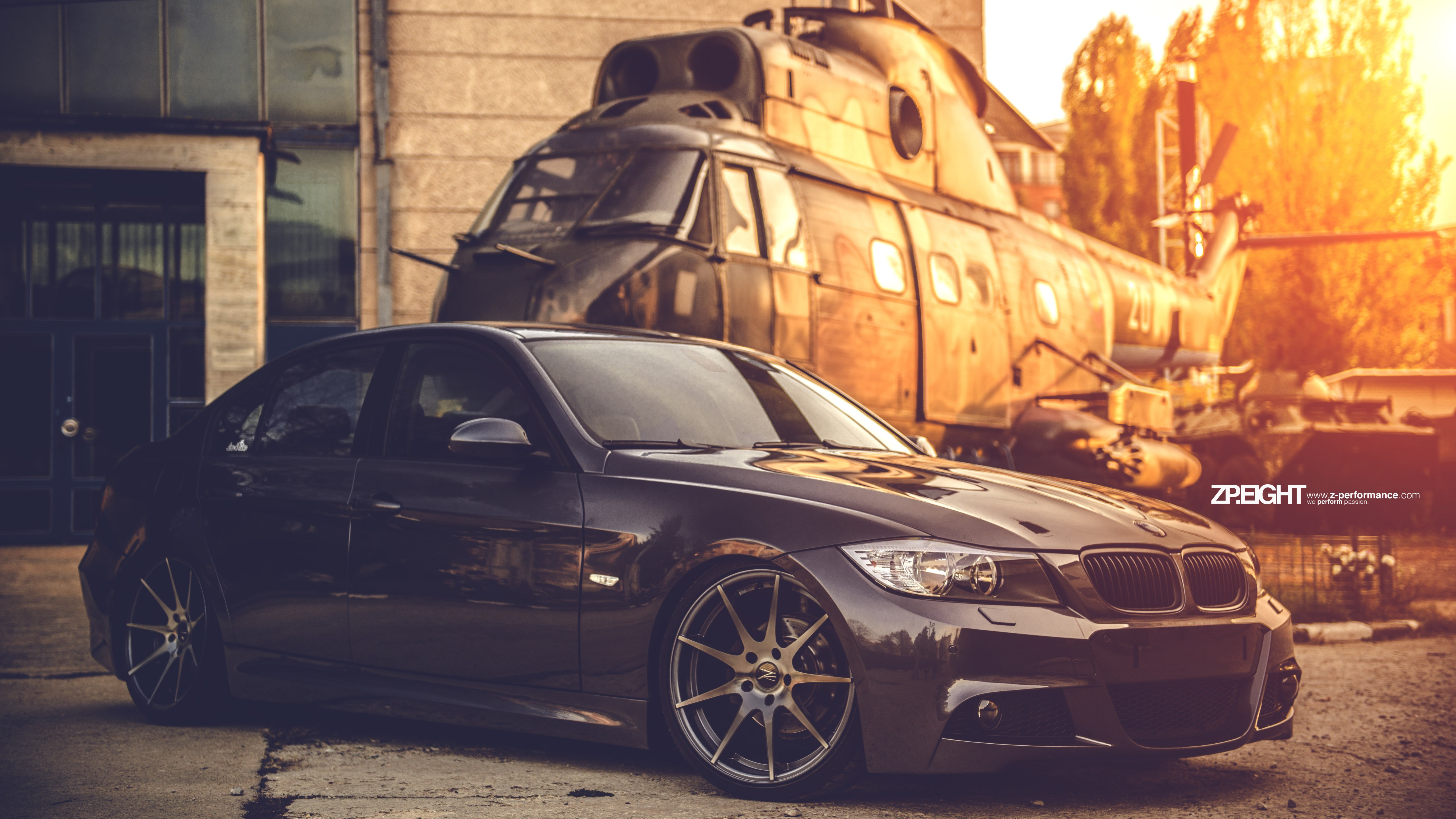 BMW E90 and one helicopter wallpaper 5120x2880