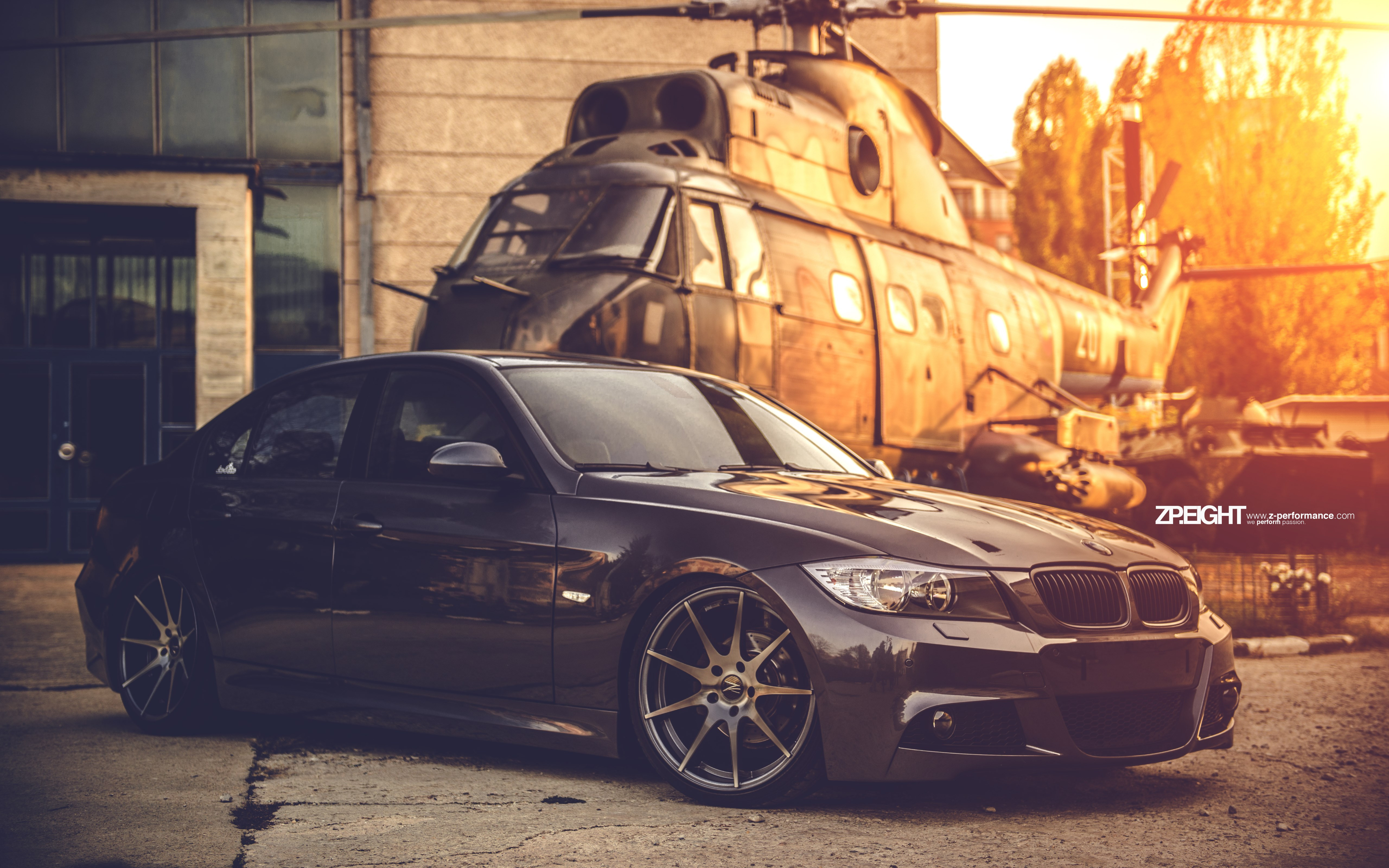 BMW E90 and one helicopter wallpaper 5120x3200