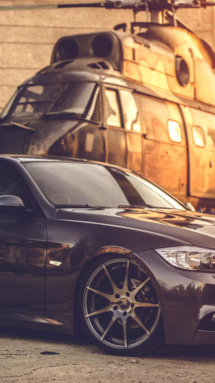 BMW E90 and one helicopter wallpaper 750x1334