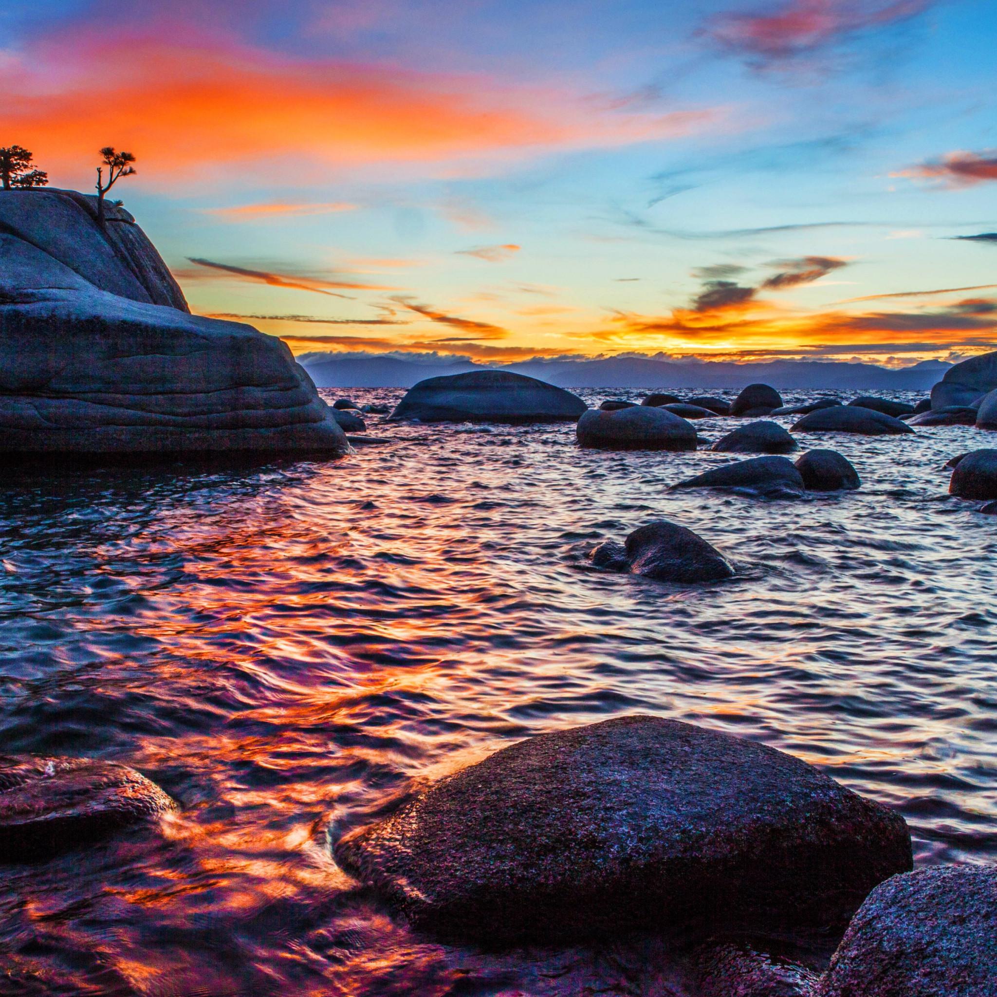 Download Wallpaper Bonsai Rock Sunset At Lake Tahoe 2048x2048