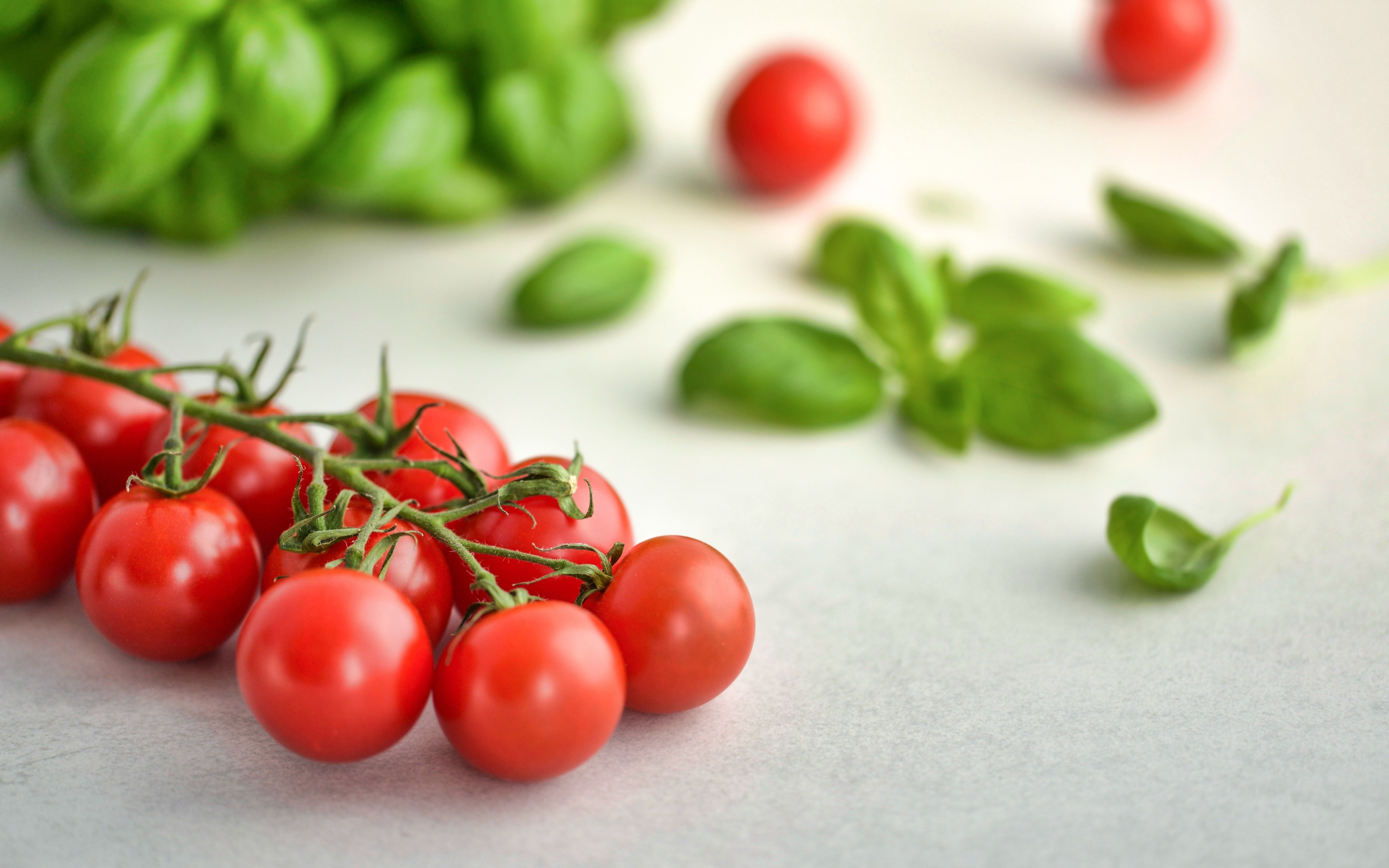 Tomatoes and basil wallpaper 3840x2400