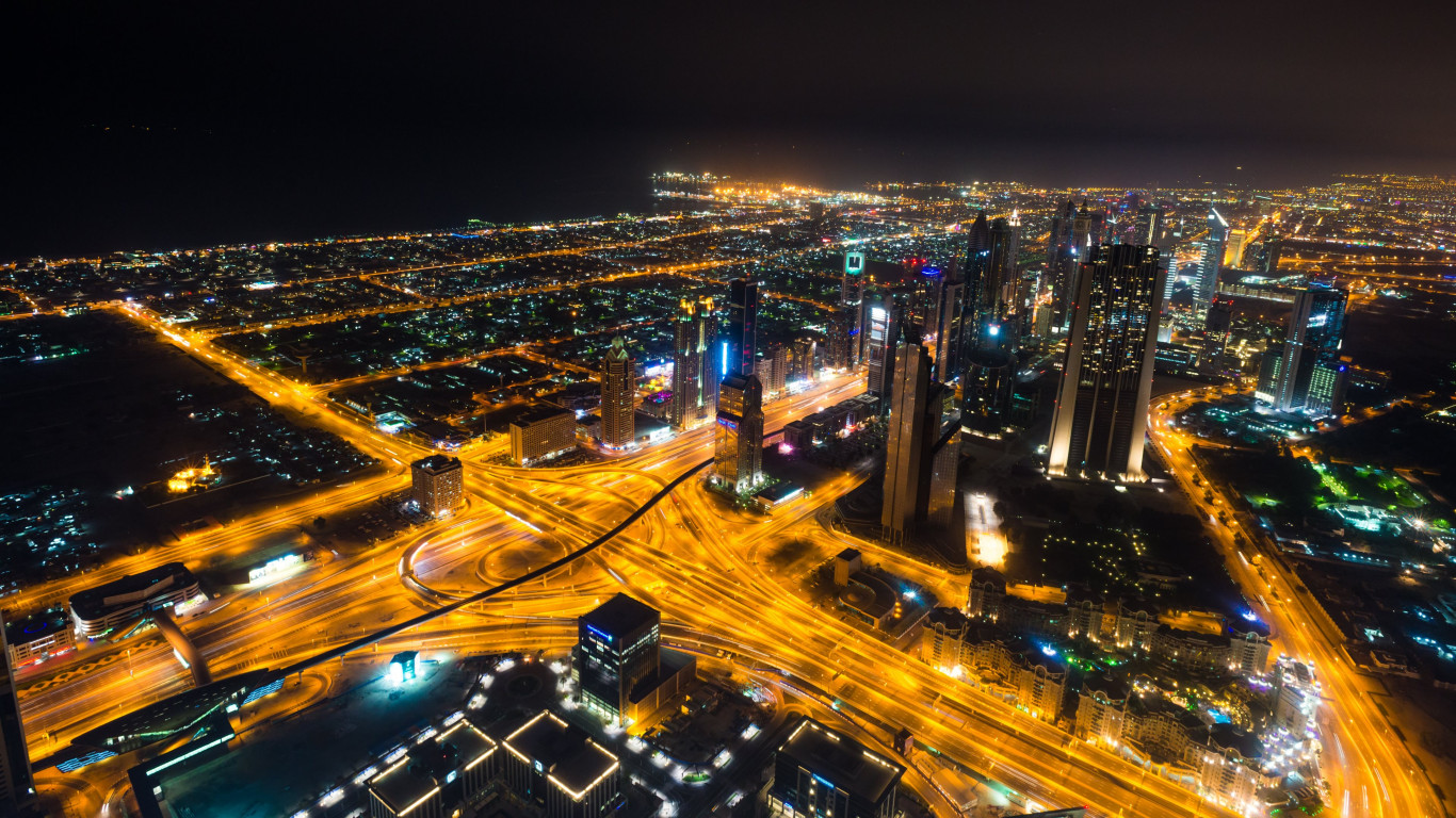 Dubai landscape by night wallpaper 1366x768
