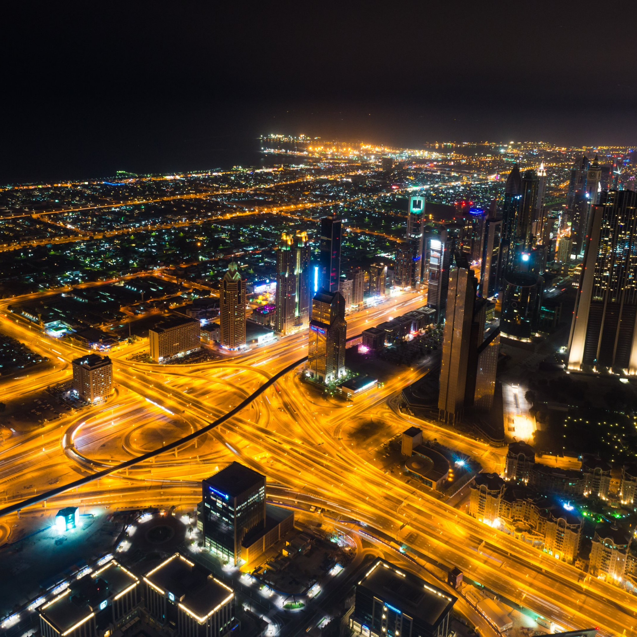 Dubai landscape by night | 2048x2048 wallpaper
