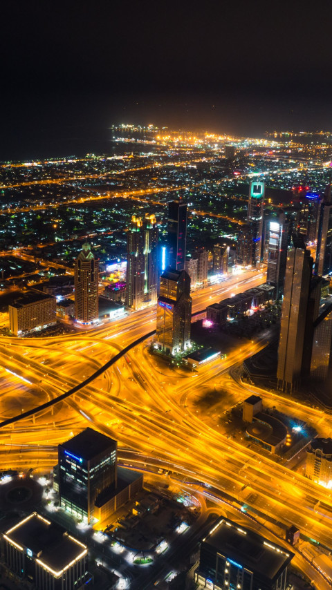 Dubai landscape by night wallpaper 480x854