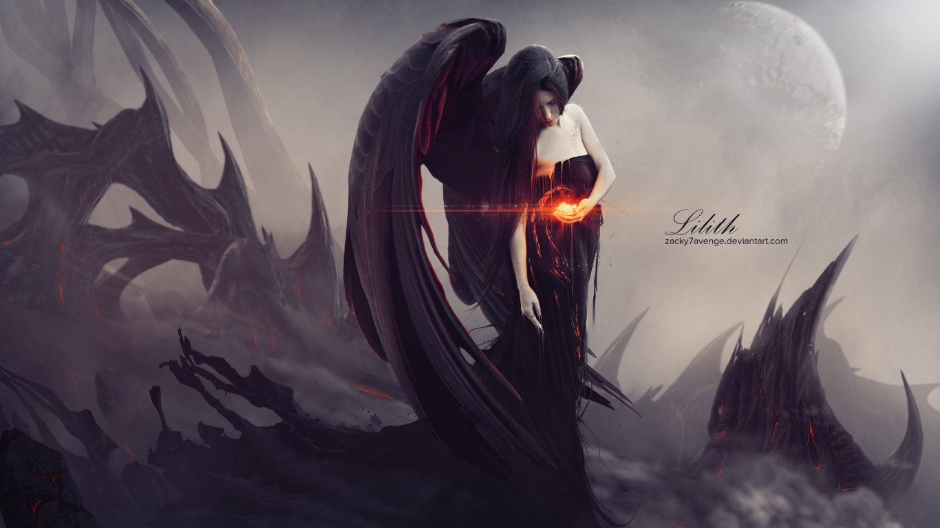 Digital art: Lilith wallpaper 1366x768