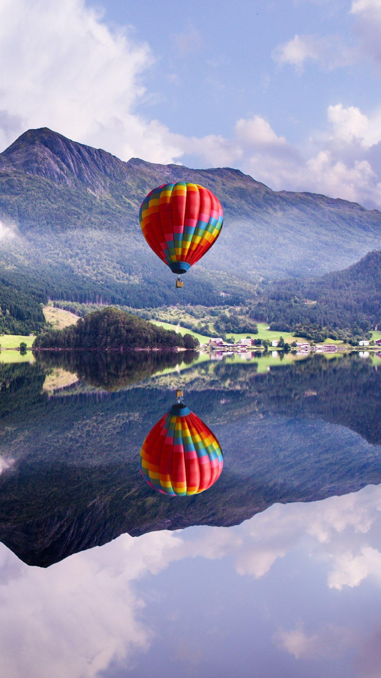 Fly in a hot air balloon wallpaper 1242x2208