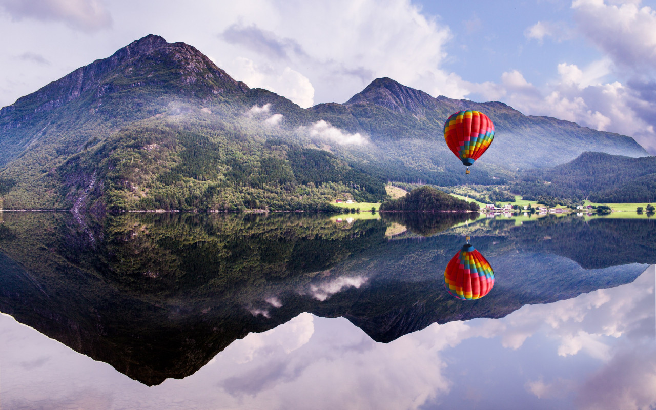 Fly in a hot air balloon wallpaper 1280x800