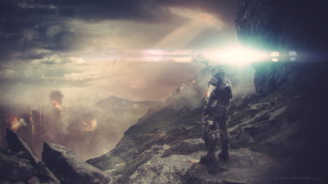 Halo ODST game fan art wallpaper 1366x768