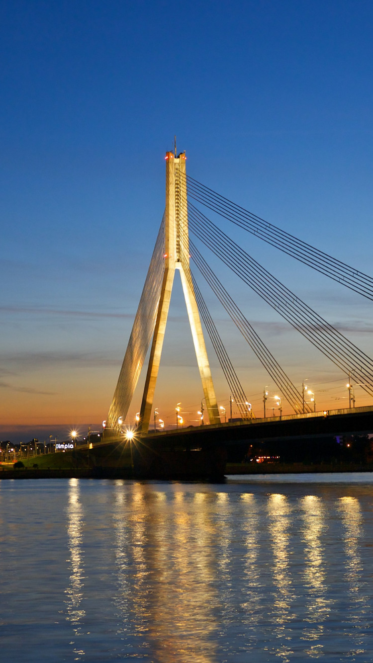 Bridge at sunset from Riga wallpaper 750x1334