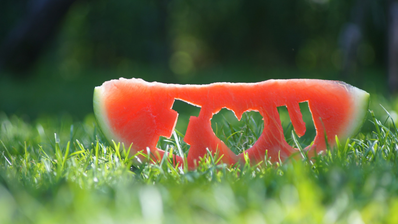 I love you through a watermelon slice wallpaper 1366x768