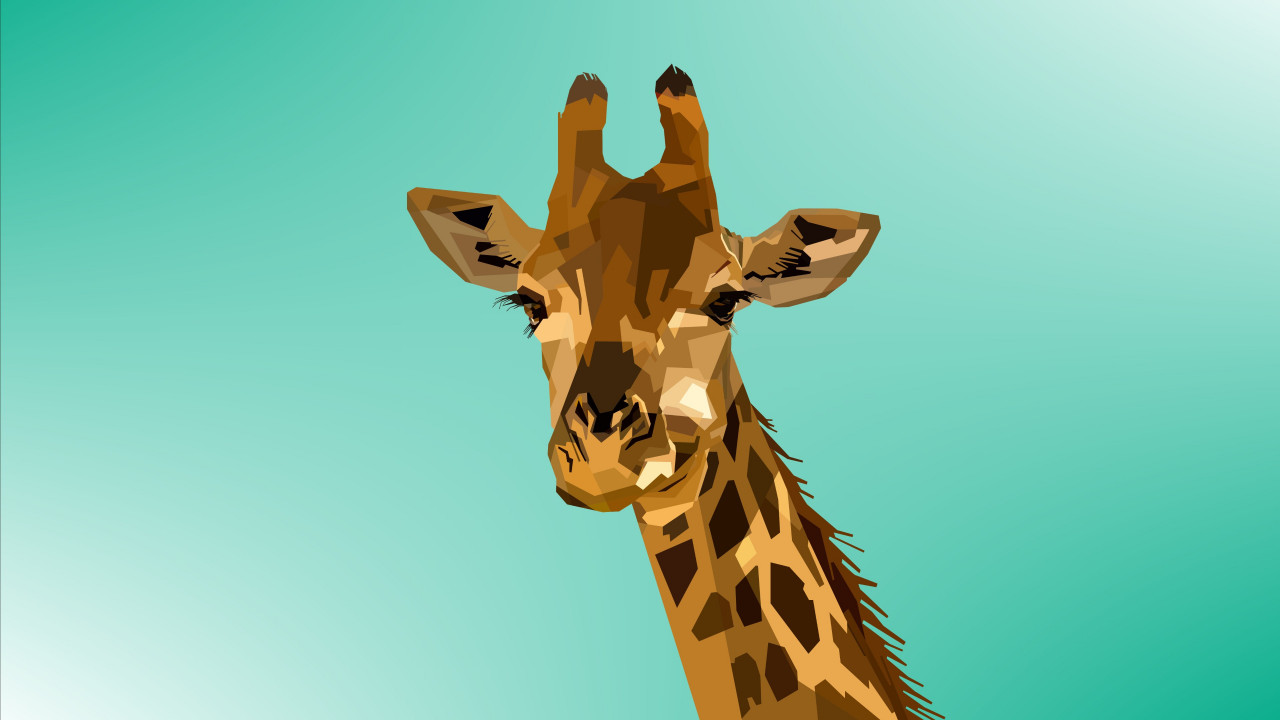 Digital drawing of a giraffe wallpaper 1280x720