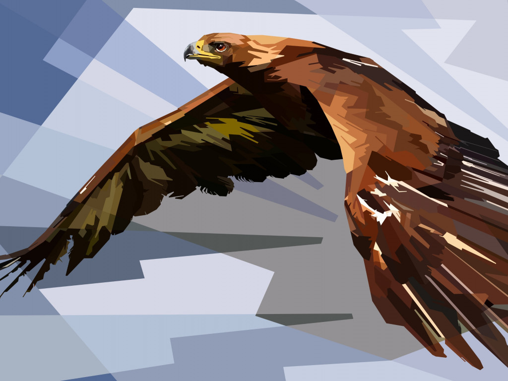 Digital drawing of an eagle | 1024x768 wallpaper