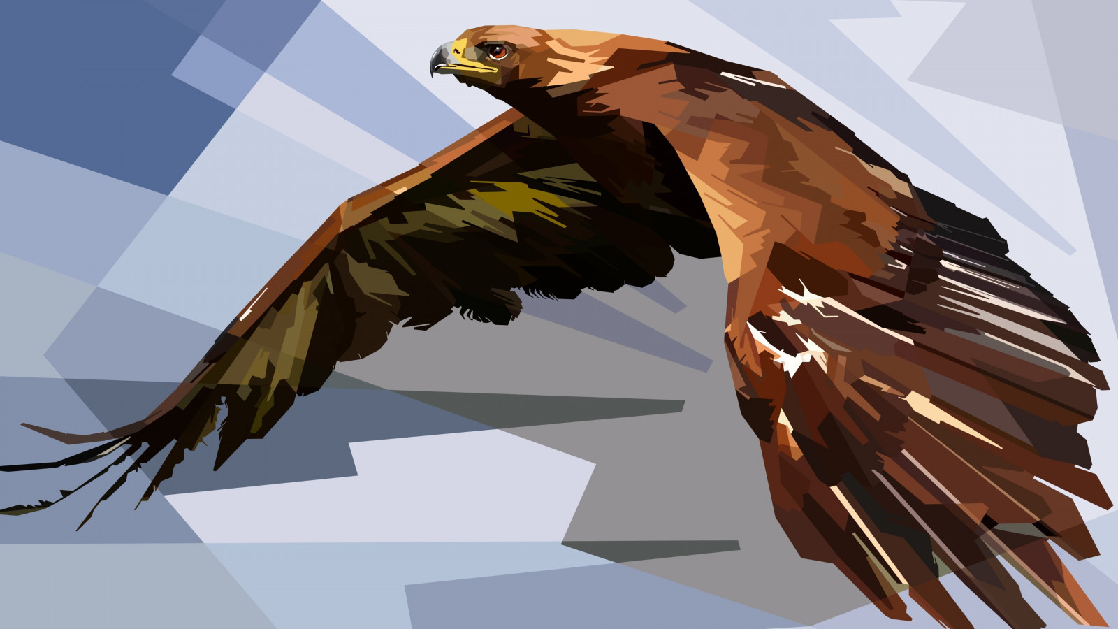 Digital drawing of an eagle | 1600x900 wallpaper