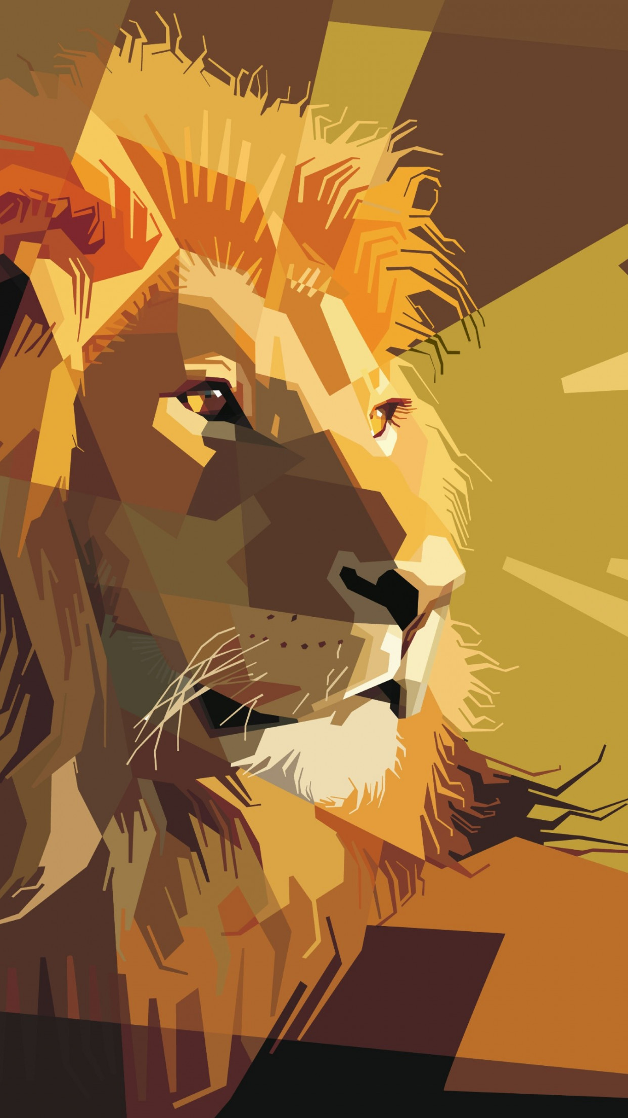 Digital drawing of a lion male wallpaper 1242x2208