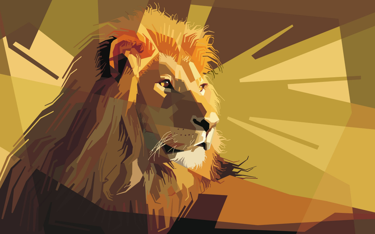 Digital drawing of a lion male wallpaper 1280x800