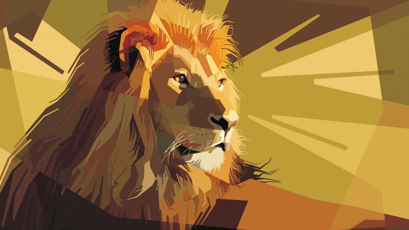 Digital drawing of a lion male wallpaper 1366x768