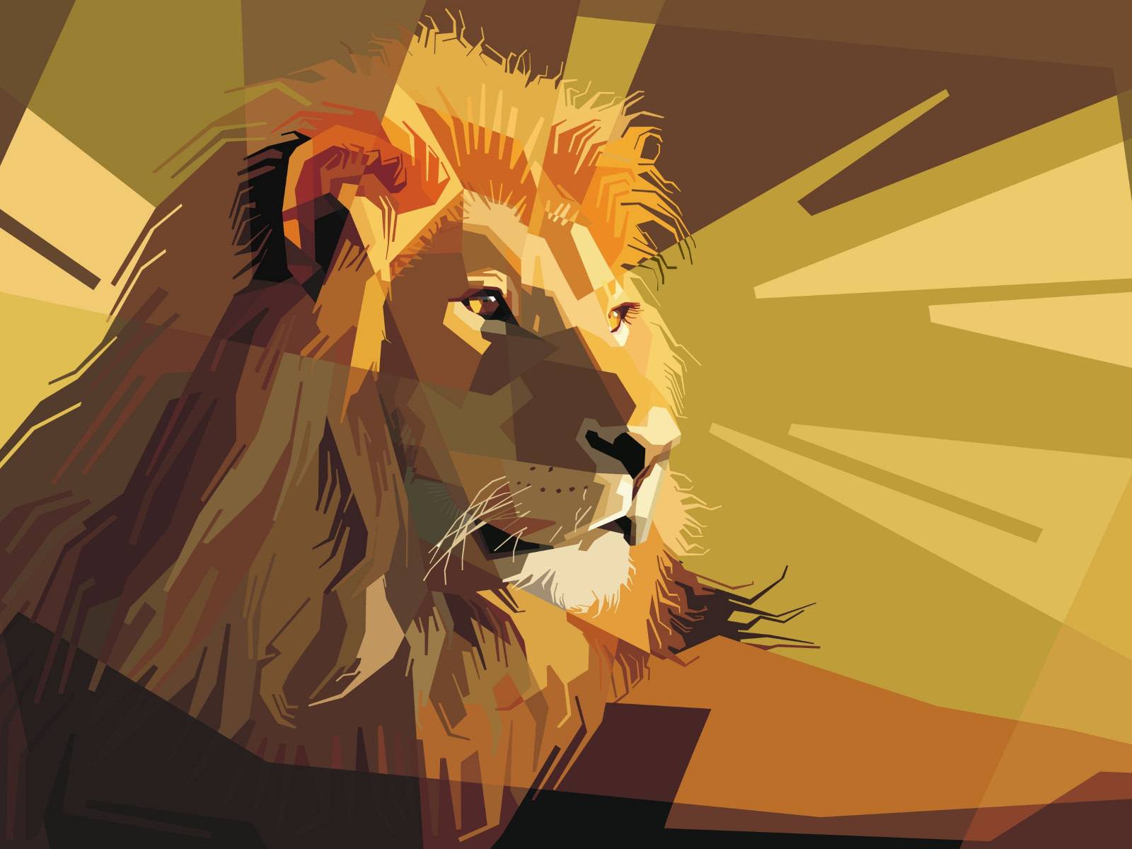 Digital drawing of a lion male wallpaper 1600x1200