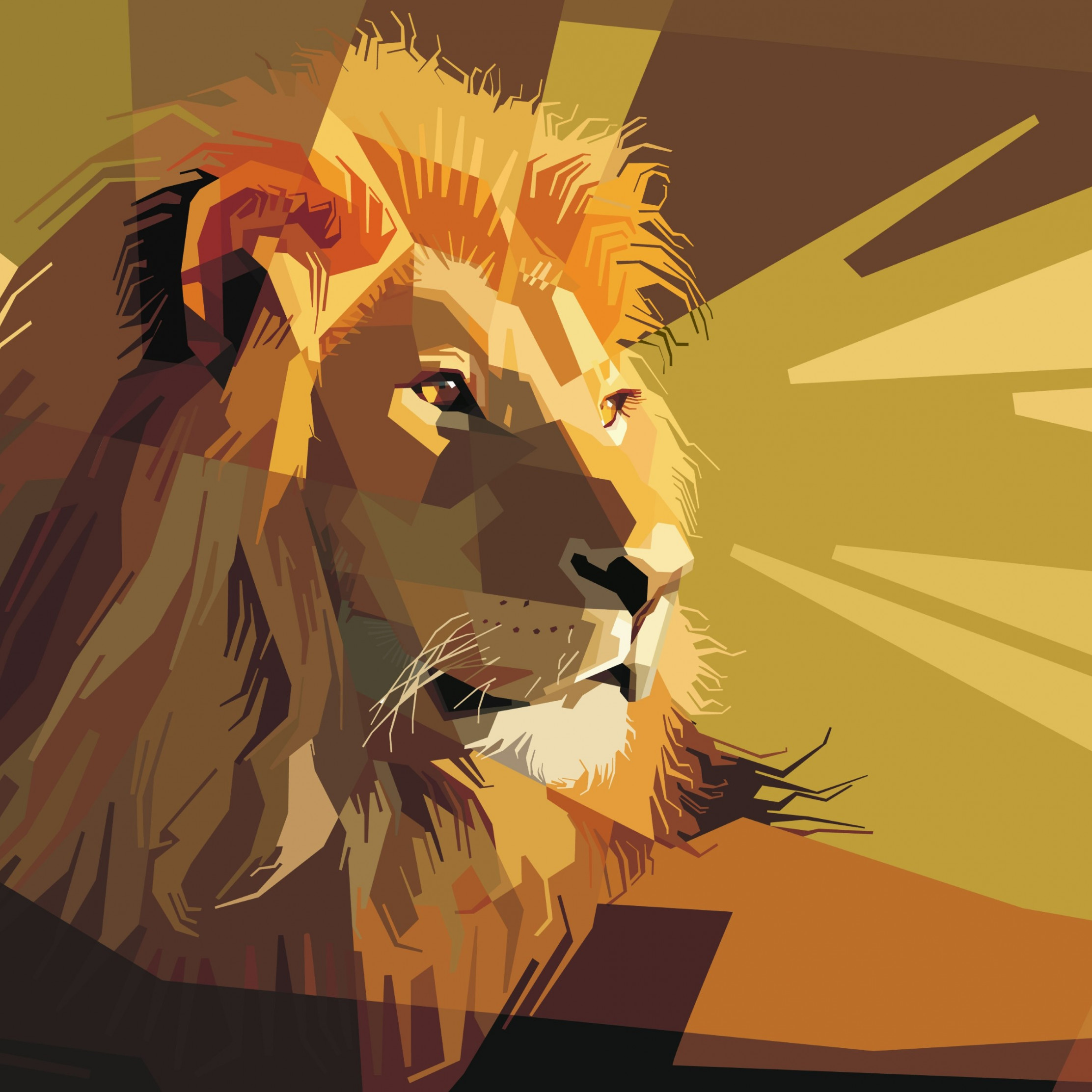 Digital drawing of a lion male wallpaper 2224x2224