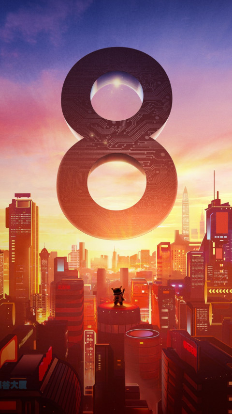 Xiaomi Mi 8. Poster from the launch event wallpaper 480x854