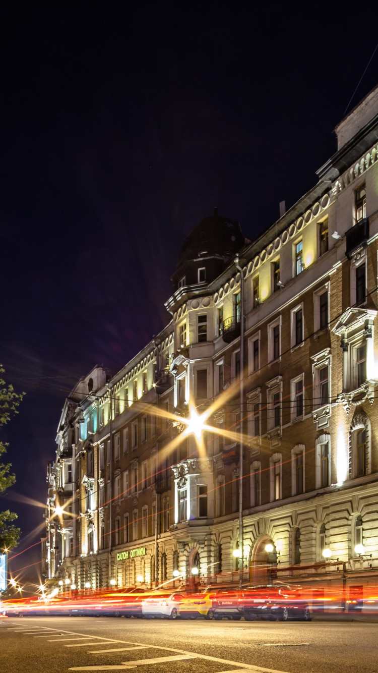 Night lights in Moscow wallpaper 750x1334