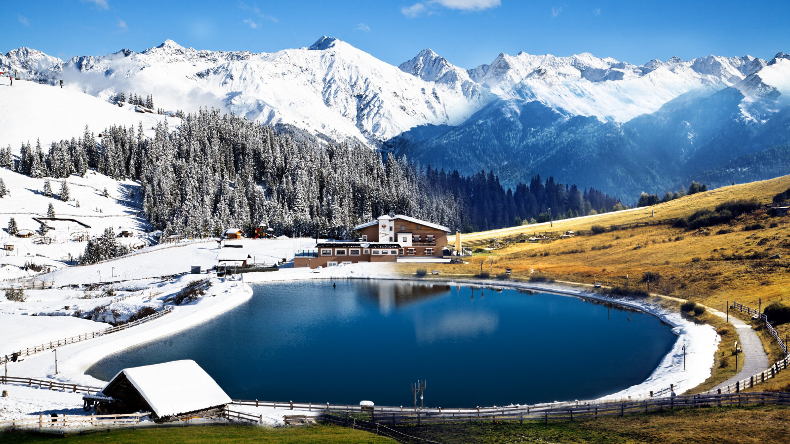 Winter landscape from Alps wallpaper 1600x900