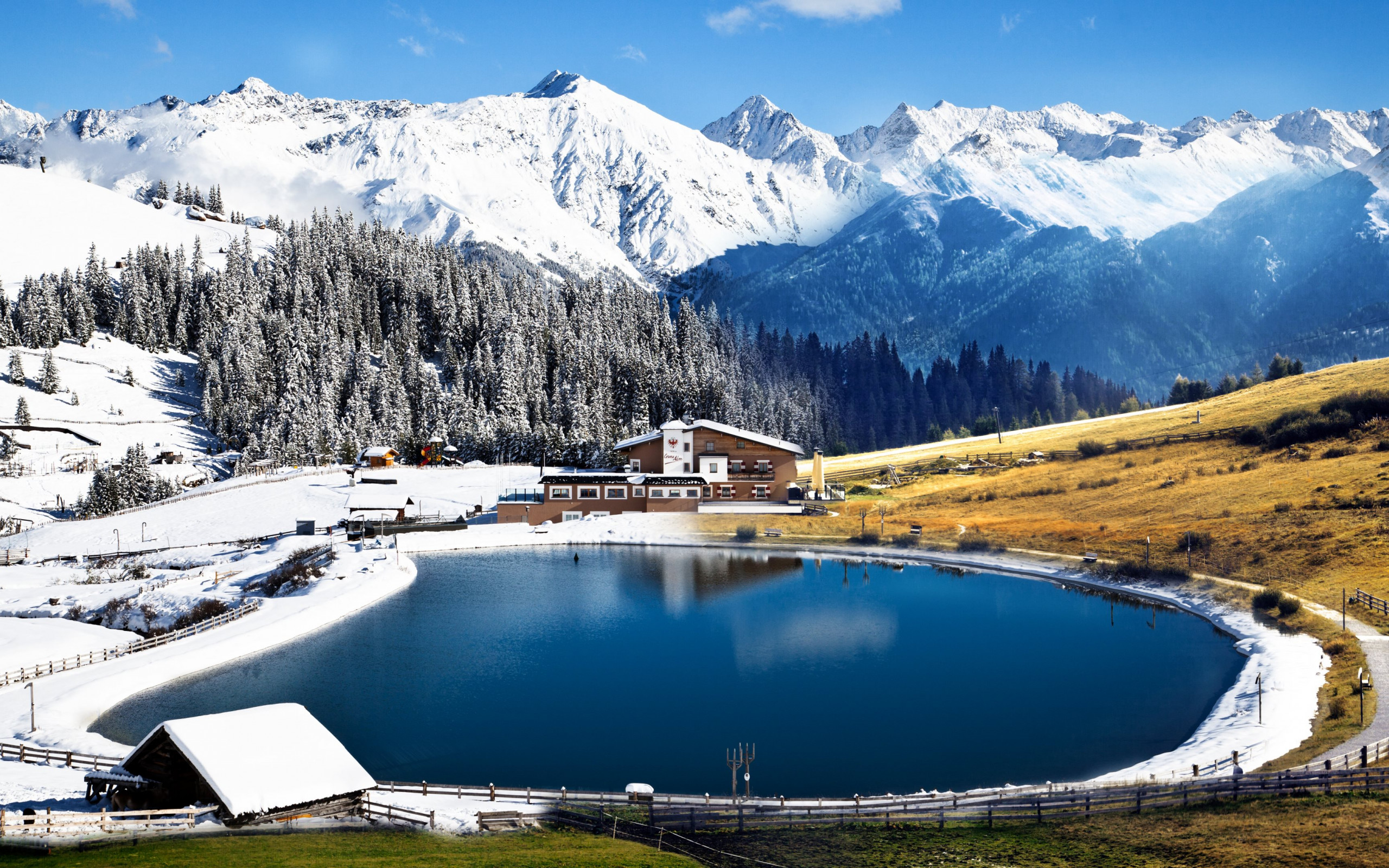 Winter landscape from Alps wallpaper 2560x1600