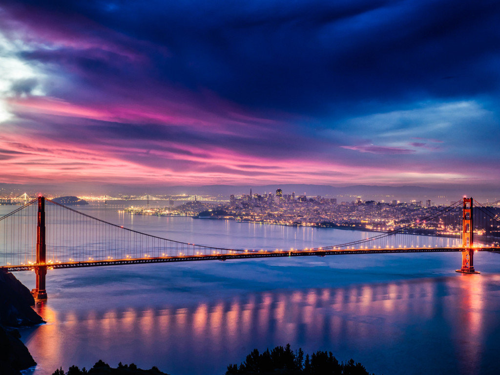 Skyfire over San Francisco Bay Bridge wallpaper 1024x768