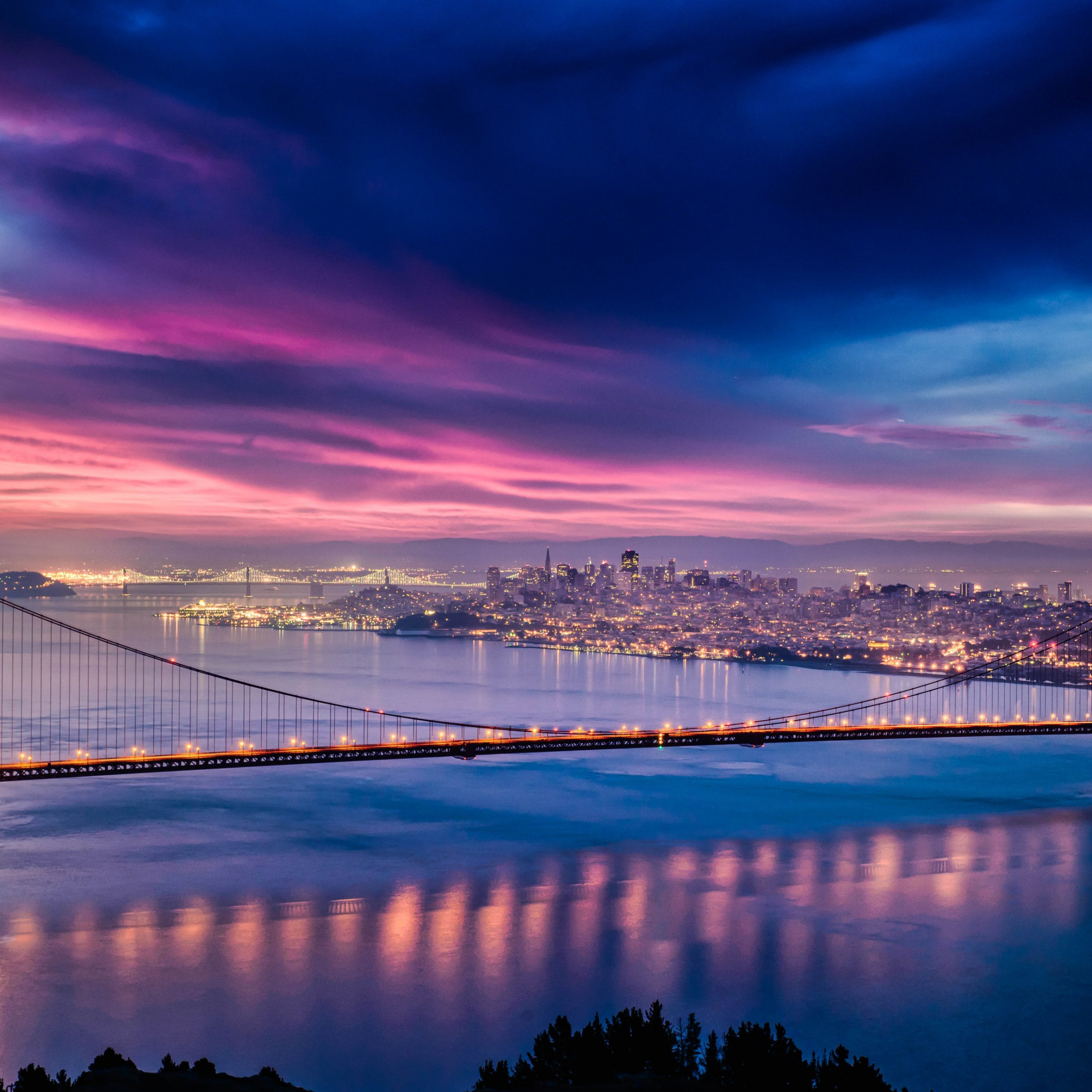 Skyfire over San Francisco Bay Bridge wallpaper 2224x2224