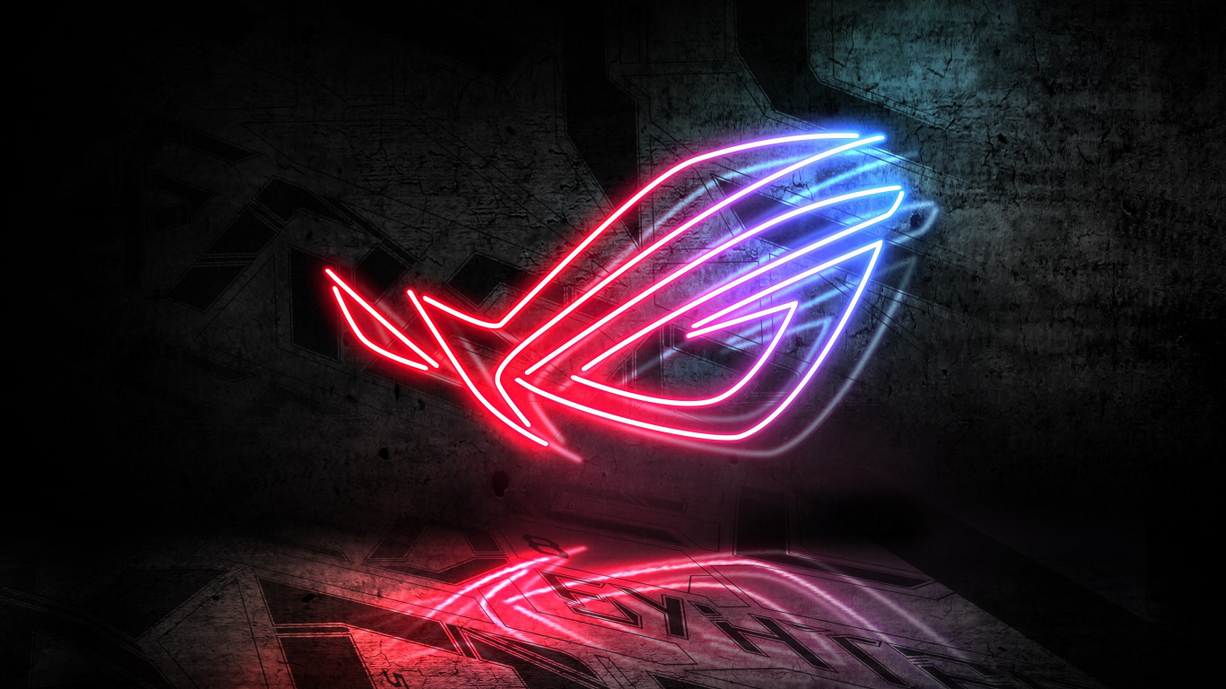 asus rog neon logo 1366x768 wallpaper | download link