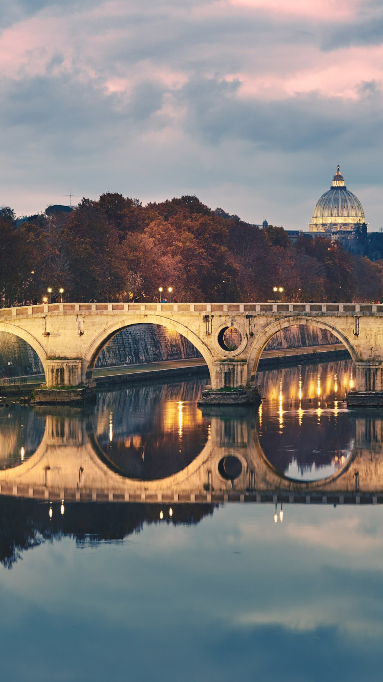 Ponte Sisto in Rome, Italy wallpaper 750x1334