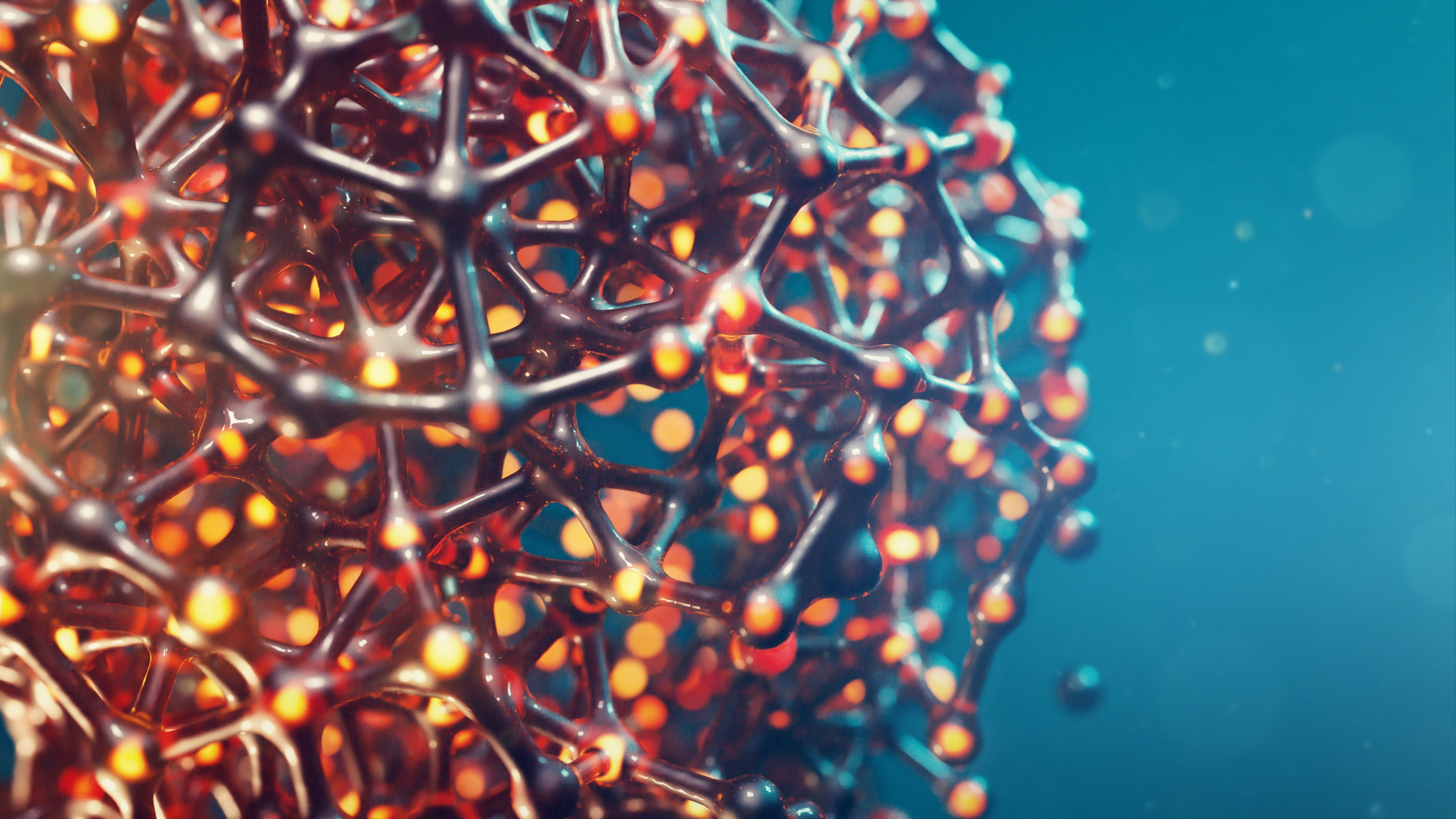 3D cellular structure wallpaper 2560x1440