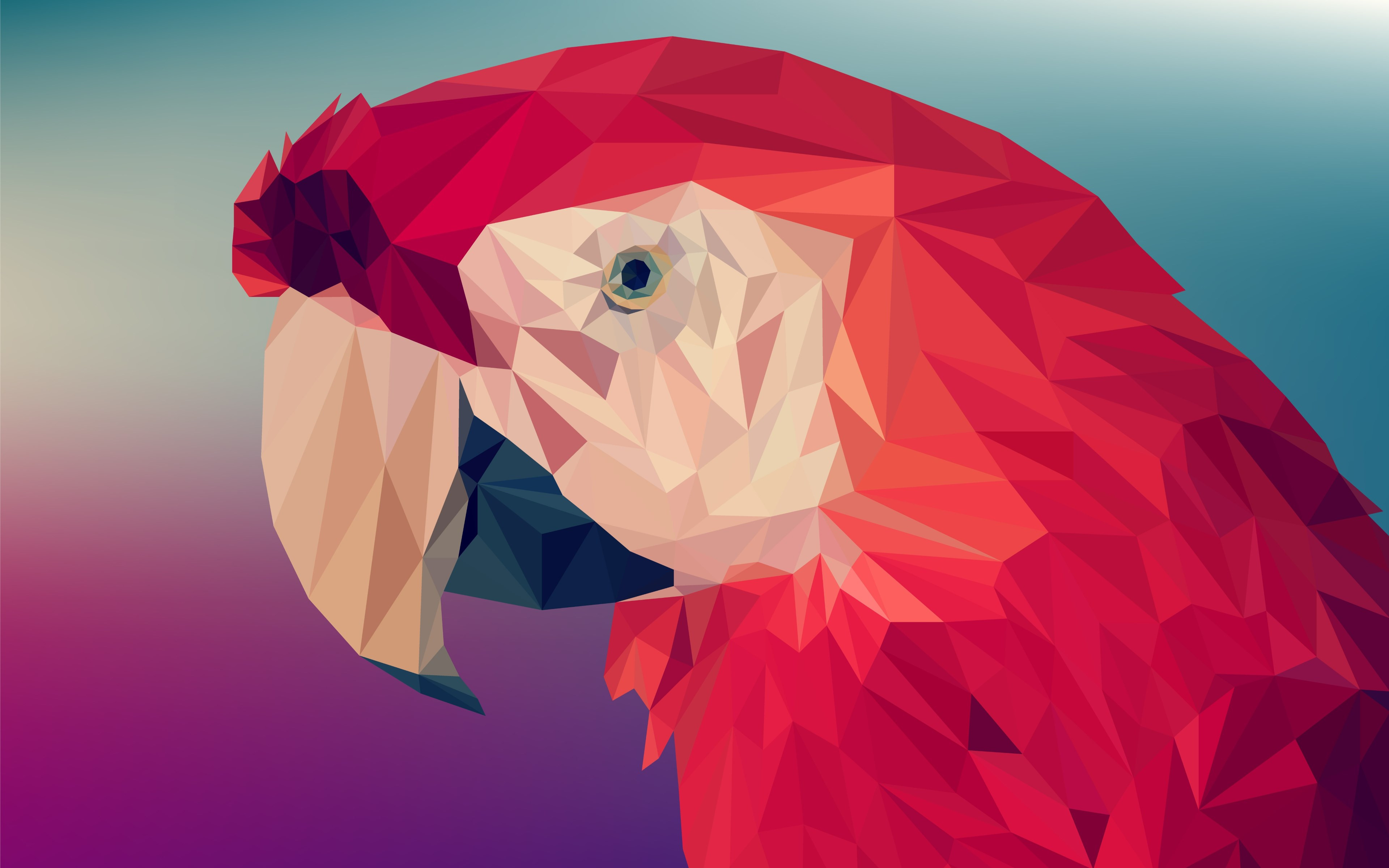 Low poly art: Red parrot wallpaper 3840x2400