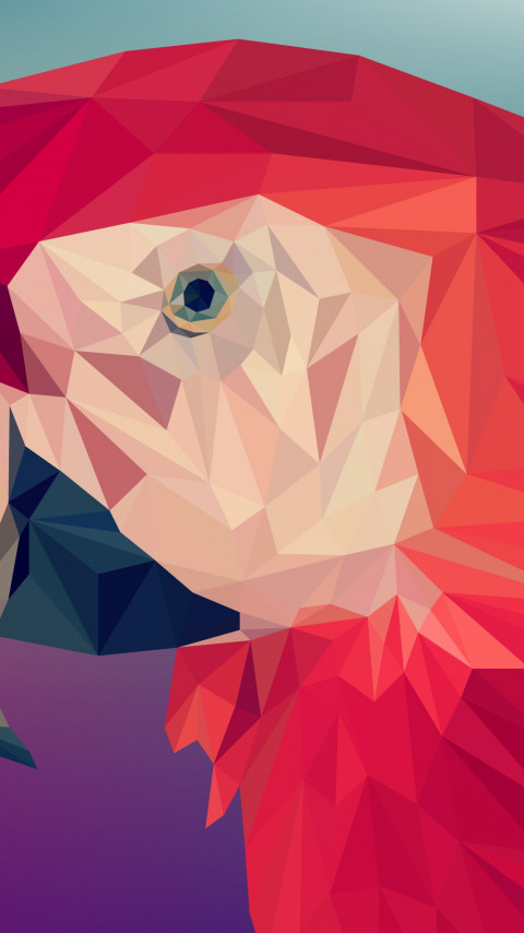 Low poly art: Red parrot wallpaper 480x854