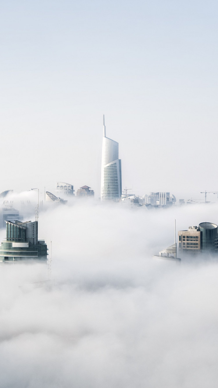 Fog is over Dubai | 750x1334 wallpaper