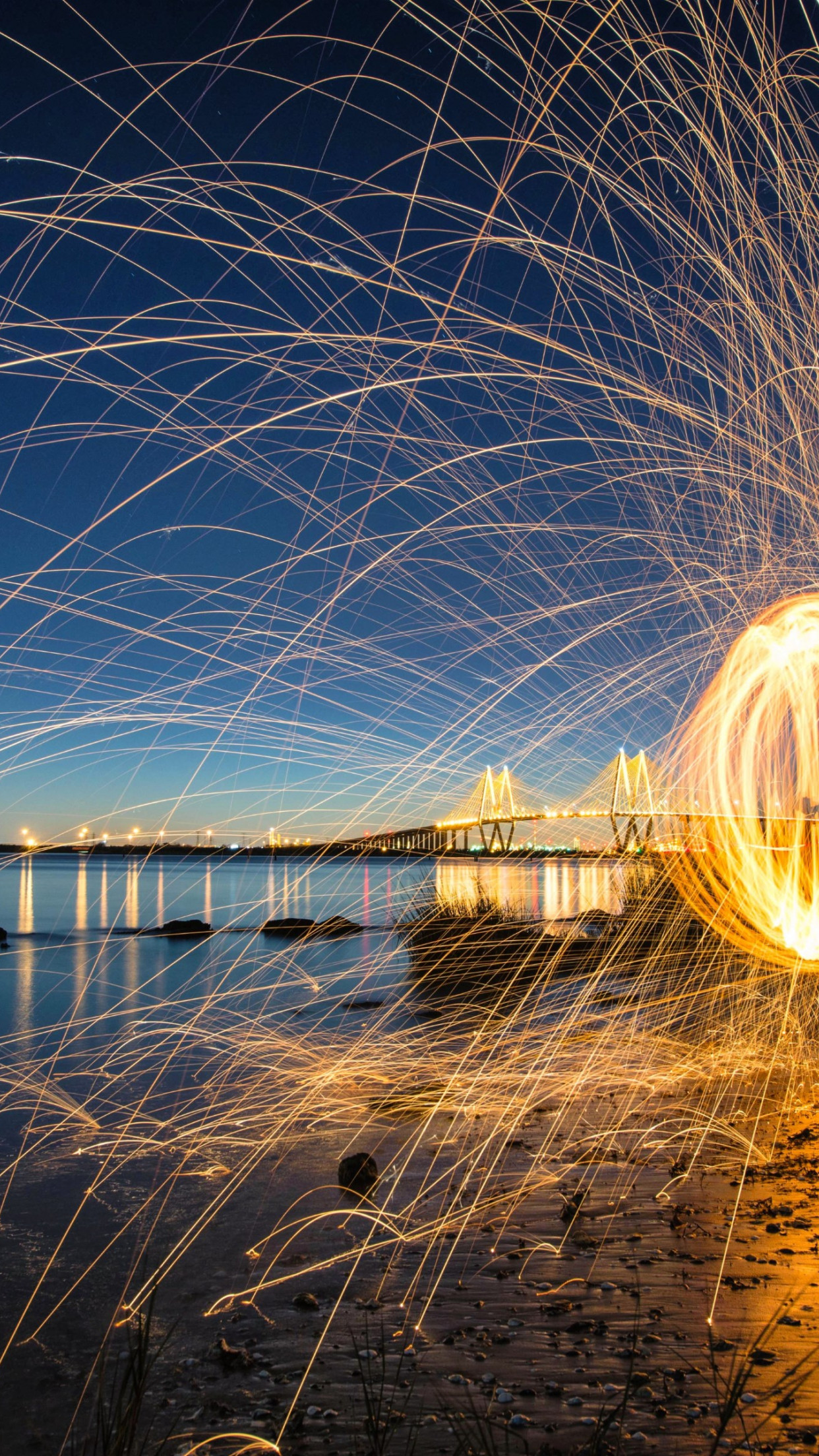 Steel wool light painting wallpaper 1242x2208