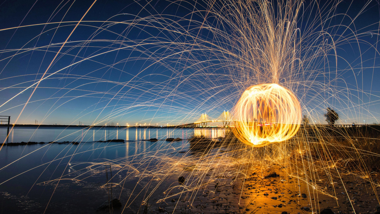 Steel wool light painting wallpaper 1280x720