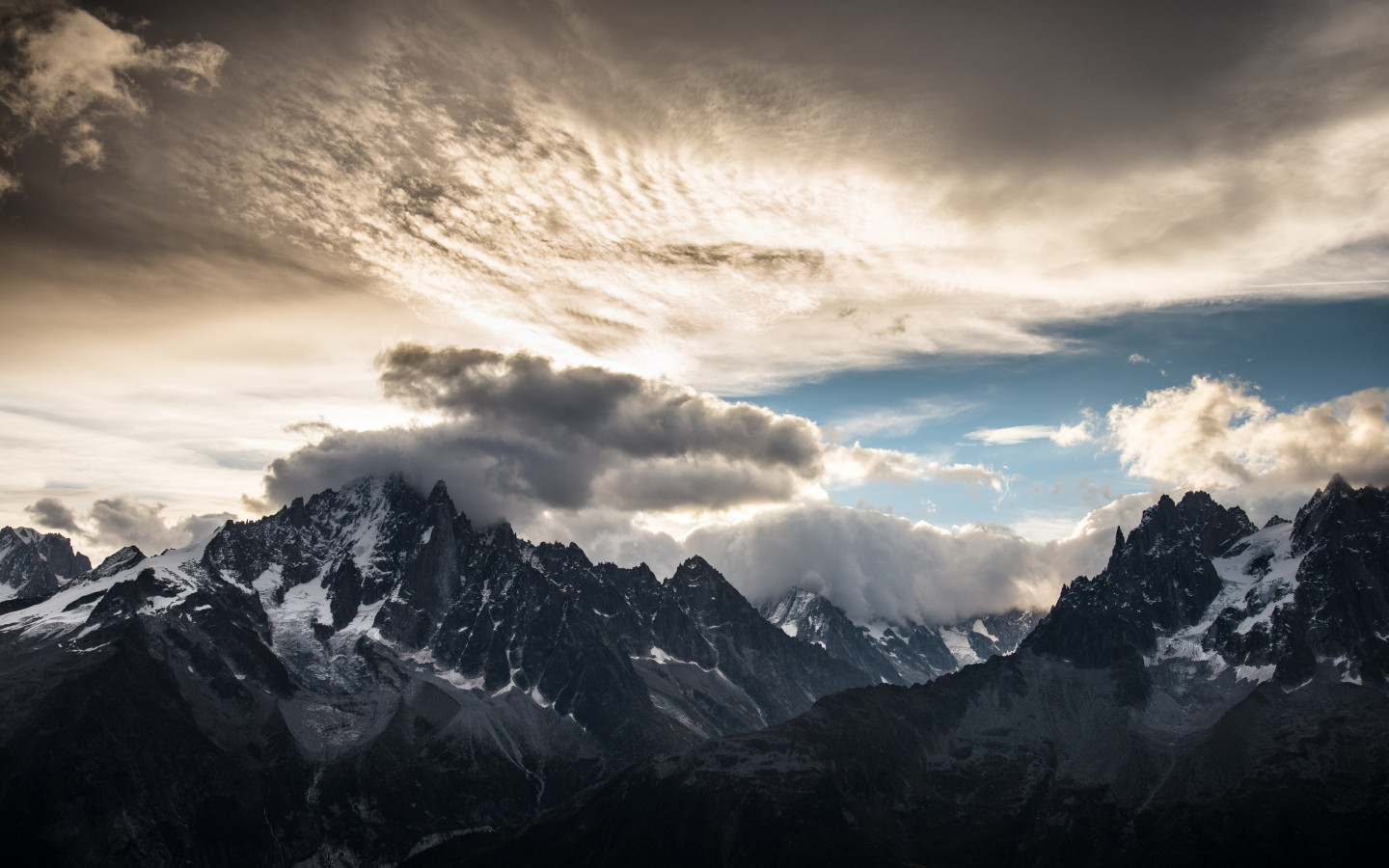 Download Wallpaper Mountain Peaks Clouds Landscape From