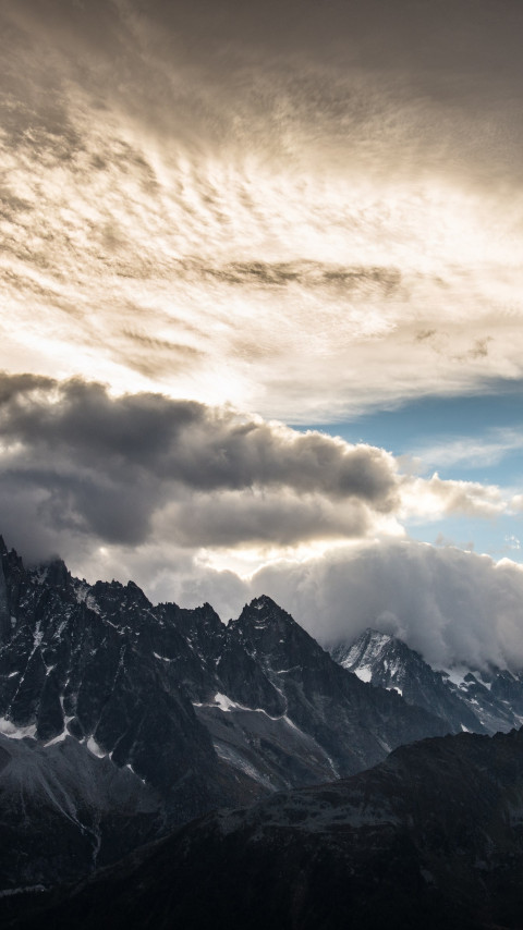 Mountain peaks, clouds, landscape from Chamonix wallpaper 480x854