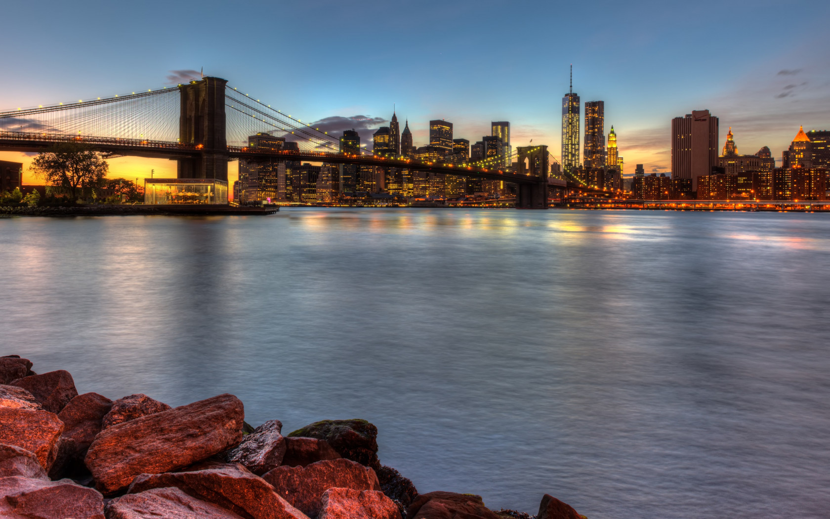 Brooklyn Bridge, NY, USA wallpaper 1680x1050